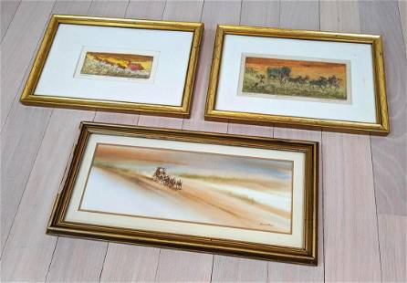 3pcs Western Stagecoach Art. 2 signed and numbered pri