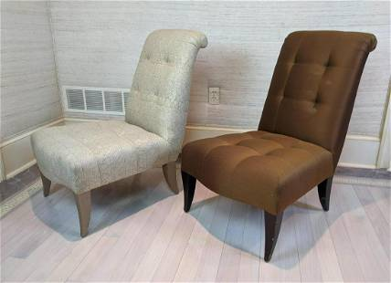 2pcs DONGHIA Armless Lounge Chairs. Tufted fabric.