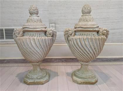 Pair Decorative Composition Urn Sculptures. Classical