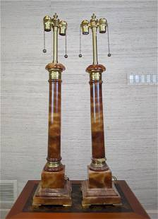 Pair MARBRO Alabaster Table Lamps. Classical columns w