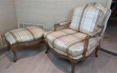 KREISS Collection Louis XV Style Bergere Chair and Otto