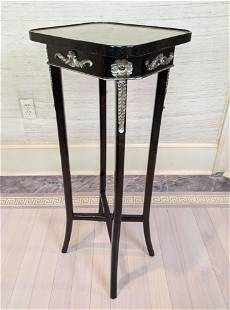 Decorative Pedestal Side Table with Silver Leaf Top. B