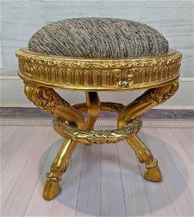 Gilt wood Ottoman Footstool Hoof Feet. French empire