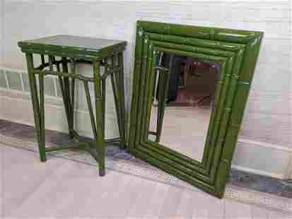 2pcs Green Lacquer Faux Bamboo Table with Mirror.