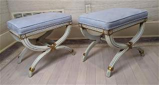Pr Regency Style Stool Benches Arch Form with Gold High