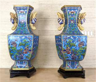 Pair of Large Ornate Cloisonne Vases. Depicts houses se