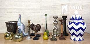 15pc Decorative Items Lot. 6 assorted candlesticks incl