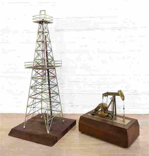 2pc OIL ORIGINALS Oil Derrick Desk Models. Metal scale