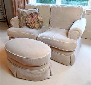 GRAFTON Beige Mohair Loveseat and Ottoman. Scroll arm s