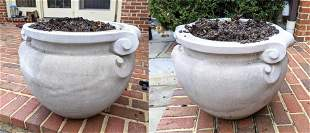 Pair of Large Cast Stone Outdoor Planters.  Classical F