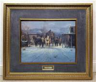 """G. HARVEY """"The Early Run"""" Limited Edition Print. Men wi"""