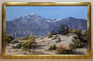Large JACKIE LEWIS BOWKER Mountain Range Oil Painting.