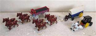 7pc lot of Horse Buggy and Wagon Metal Miniatures. Pain