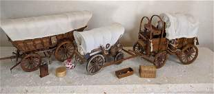3 Miniature Covered Wagon Models. Comes with miniature