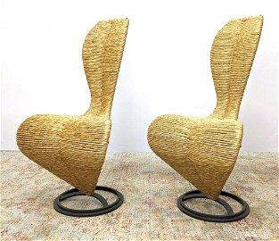 Pr TOM DIXON CAPPELLINI Chairs. Woven Rush Sculptural F