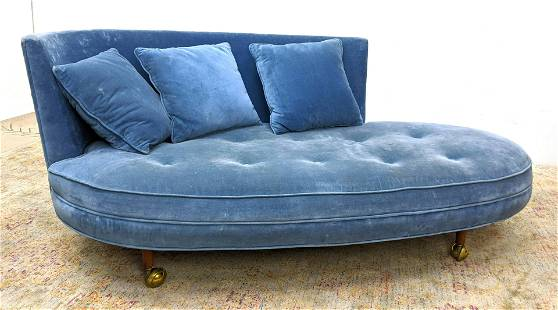 ADRIAN PEARSALL Blue Velvet Love Seat Sofa. Oval Form w