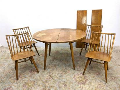 5pc CONANT BALL Modernist Dining Set. Round Table on Ta