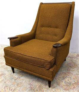 """KROEHLER Modernist Gold Brown Fabric Lounge Chair. """"Ava"""