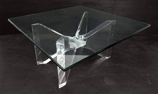 Modernist Lucite Glass Top Square Coffee Cocktail Table