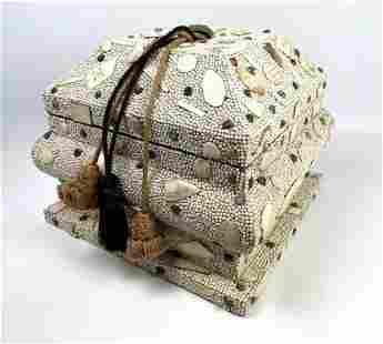 Beaded and Embellished Lidded Storage Box. Tassel Finia
