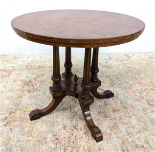 Elegant Burl Wood Round Side Table. Brass Bead Trim. Ba