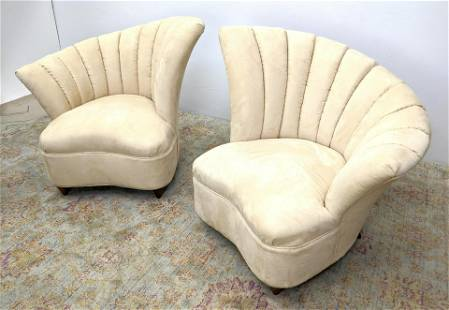 Pr Upholstered Shell Form Back Lounge Chairs. KAGAN Sty