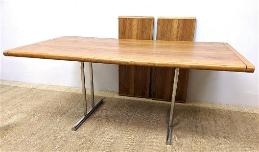 Modernist Dining Table. Banded Top on Two Sets of Doubl