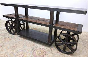Industrial style Wood and Iron Hall Console Table. Recl