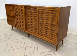 THE BUCHNER Co. Credenza Sideboard Cabinet. Sliding doo