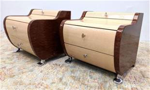 Pr Two Tone Wood Night Stands. Sculptural Cabinets on C