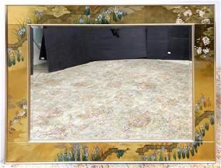 LaBARGE Artist Signed Mirror. C. ADAMS 1991. Floral gol