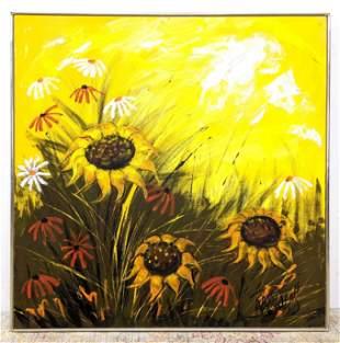 Large LEE REYNOLDS Oil Painting on Canvas.  Modernist f