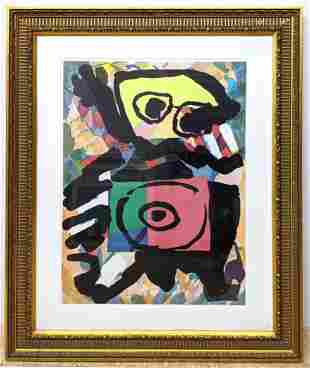 """KAREL APPEL Abstract Print. """"Persongen Red"""". Signed and"""
