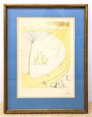 SALVADOR DALI Print. Modernist Beach Scene with Tree an