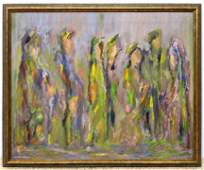 Signed HERMAN MONTAG Abstract Figural Painting. Gathere