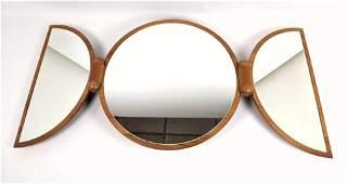 Danish Staved Teak Modern Folding Three Part Mirror. Ha