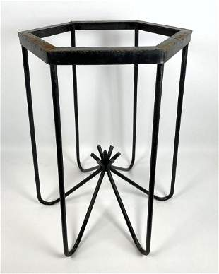 Jean Royere Style Black Iron Table Base. Painted black.