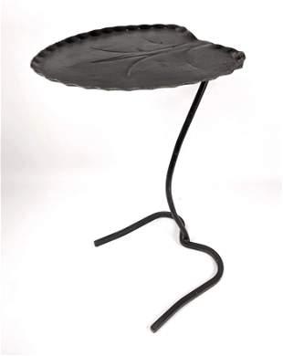 Single SALTERINI Painted Iron Leaf Side Table. Patio, O