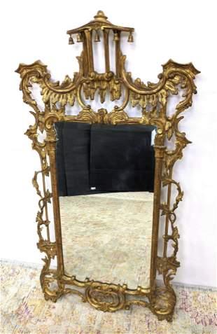 Very Fancy Gilt Carved Wood Pagoda Crest Wall Mirror. F