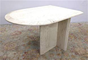 Travertine Marble U Shaped Top Side End Table. T form b