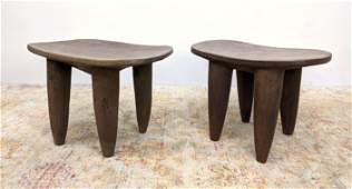 2pc West African Senufo Primitive Wood Stools Tables.
