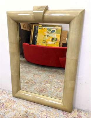 Large Karl Springer Attributed Wall Mirror. Large Lacqu