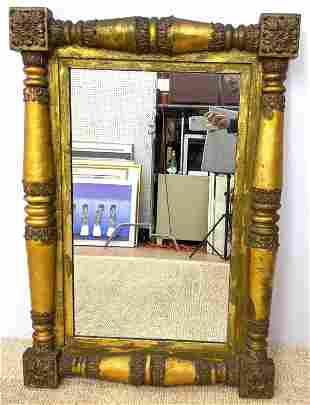 Antique Gilt Wood Framed Wall Mirror. Foliate details t