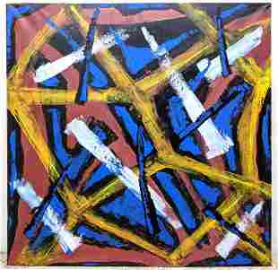 Large Zinba DNS modernist abstract oil painting on canv