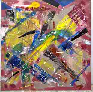 Large Signed ZINBA DNS Modernist abstract oil painting