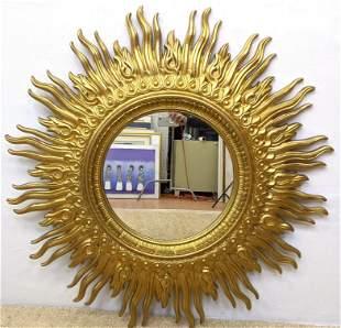 Large Sunburst Figural Wall Mirror. Decorative Golden F
