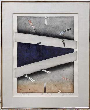 Modernist abstract signed print. BRUCE K. BLEACH. Title