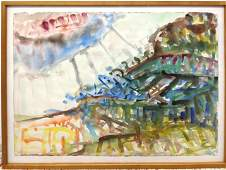 Signed colorful modernist abstract watercolor. Large pi