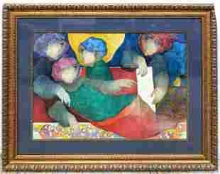ALVAR Signed Modernist embossed lithograph print. Color