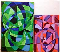 2pc Modernist abstract colorful paintings. One with gre